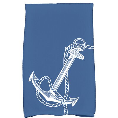 Bridgeport Anchored Print Hand Towel Color: Blue