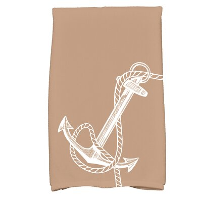 Bridgeport Anchored Print Hand Towel Color: Taupe/Beige
