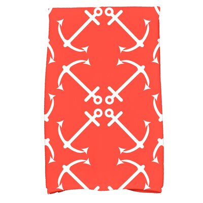 Hancock Anchors Up Print Hand Towel Color: Orange