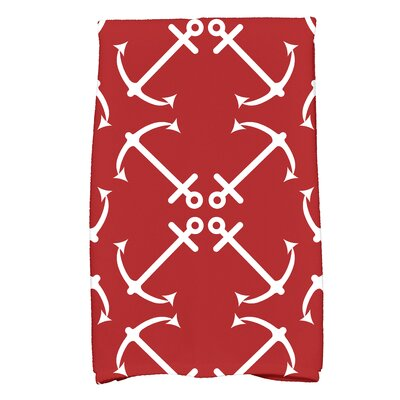 Hancock Anchors Up Print Hand Towel Color: Red