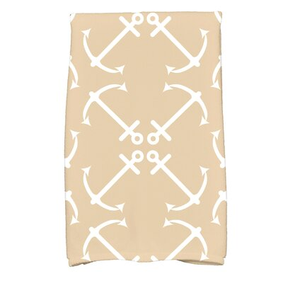 Hancock Anchors Up Print Hand Towel Color: Taupe/Beige