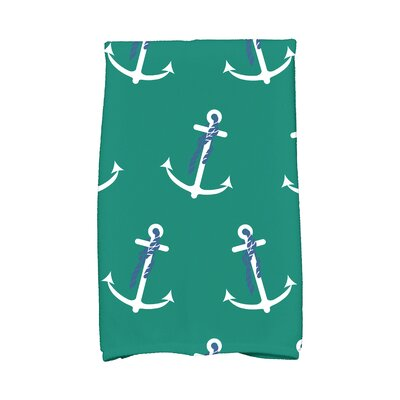 Bridgeport Anchor Whimsy Print Hand Towel Color: Green