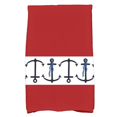 Hancock Anchor Print Hand Towel Color: Red
