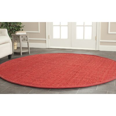 Weatherhill Hand-Woven Red Area Rug Rug Size: Round 7