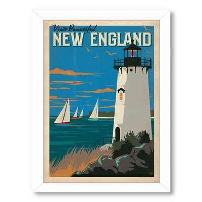 'New England Lighthouse' Vintage Advertisement Format: White Frame, Size: 10