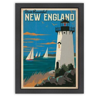 New England Lighthouse Framed Vintage Advertisement