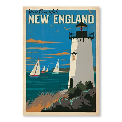 'New England Lighthouse' Vintage Advertisement Format: Poster, Size: 14