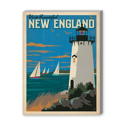 New England Lighthouse Vintage Advertisement on Gallery Wrapped Canvas Size: 10