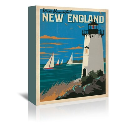 'New England Lighthouse' Vintage Advertisement Format: Canvas, Size: 14