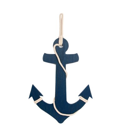 Pelican Bay Anchor Blue Wood Wall Décor
