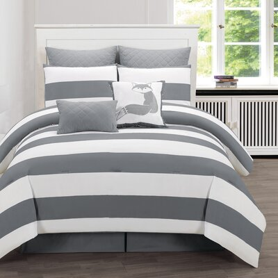 Whimbrel 8 Piece Comforter Set Size: King, Color: Smoke