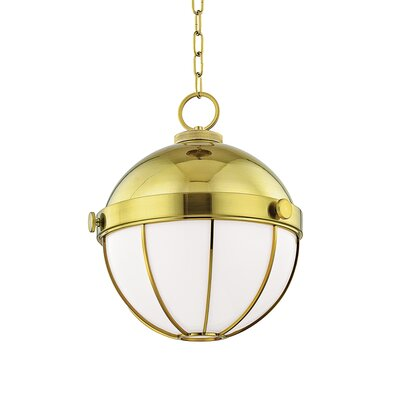 Greenevers 1-Light Globe Pendant Finish: Modern Brass, Size: 16.75 H x 14 W x 14 D