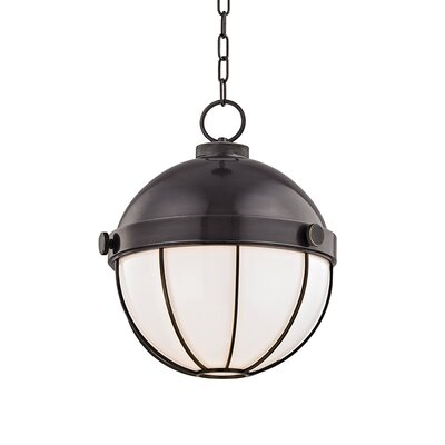 Greenevers 1-Light Globe Pendant Finish: Aged Brass, Size: 16.75 H x 14 W x 14 D