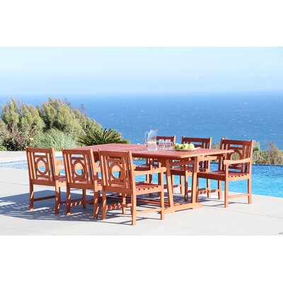Monterry Extendable 7 Piece Eucalyptus Wood Dining Set