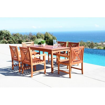 Monterry 7 Piece Rectangular Eucalyptus Wood Dining Set