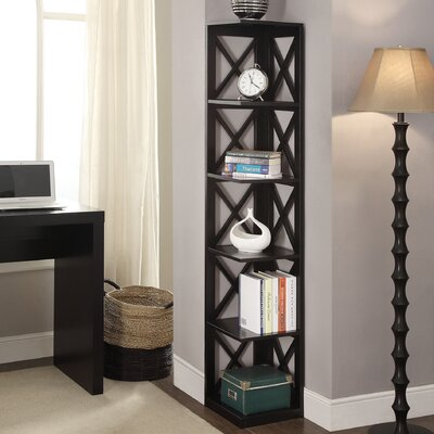 Washington 5 Tier Corner 64 Corner Unit Bookcase Finish: Black