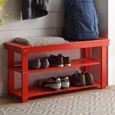 Washington Wood Entryway Bench Finish: Red