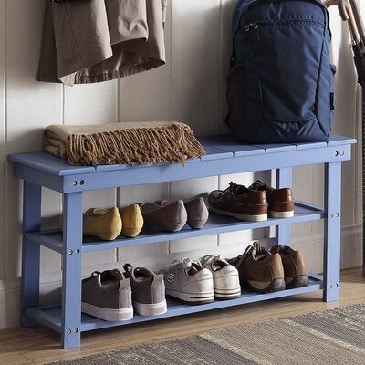 Washington Wood Entryway Bench Finish: Blue