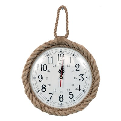 Pelican Bay 12 Brown Jute Rope Trim Wall Clock