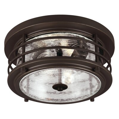 Newcastle 2-Light Flush Mount Finish: Antique Bronze, Bulb Type: 75W A19 Medium