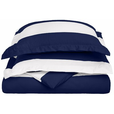 Ariel Striped Reversible Duvet Cover Set Size: Full/Queen, Color: Navy Blue