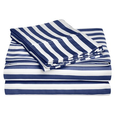 Ariel 600 Thread Count Cotton Blend Sheet Set Size: Queen, Color: Navy Blue