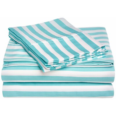 Ariel 600 Thread Count Striped Sheet Set Size: Full, Color: Sky Blue