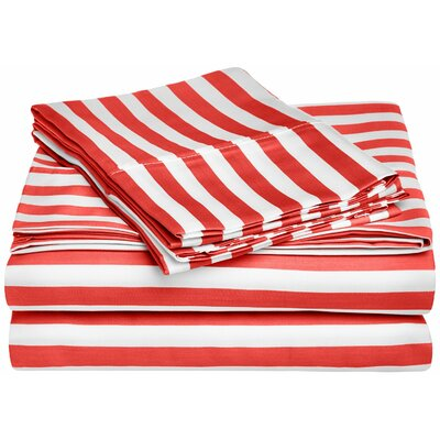 Ariel 600 Thread Count Striped Sheet Set Size: Queen, Color: Red