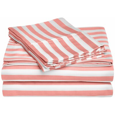 Ariel 600 Thread Count Striped Sheet Set Size: Full, Color: Pink