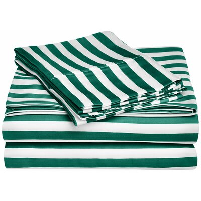 Ariel 600 Thread Count Striped Sheet Set Size: Twin, Color: Hunter Green