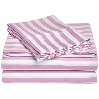 Ariel 600 Thread Count Striped Sheet Set Size: Queen, Color: Lavender