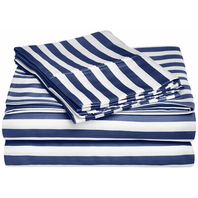 Ariel 600 Thread Count Striped Sheet Set Color: Navy Blue, Size: Twin XL