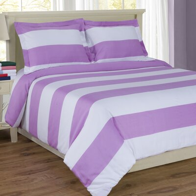 Ariel Sateen Reversible Duvet Cover Set Color: Lavender, Size: Twin