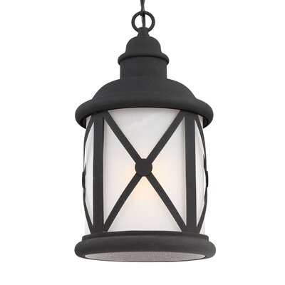 Falmouth 1-Light Foyer Pendant with Etched Seeded Glass Finish: Black