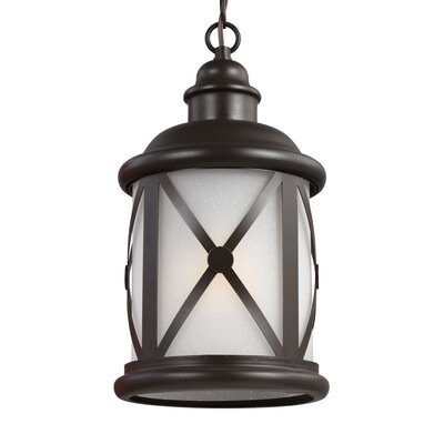 Falmouth 1-Light Foyer Pendant with Etched Seeded Glass Finish: Antique Bronze