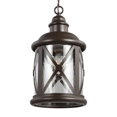 Falmouth 1-Light Foyer Pendant with Clear Seeded Glass Finish: Antique Bronze