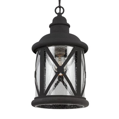 Falmouth 1-Light Foyer Pendant with Clear Seeded Glass Finish: Black