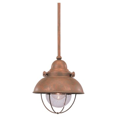 Corbel 1-Light LED Mini Pendant Color: Weathered Copper, Size: 9 H x 8 W x 8 D