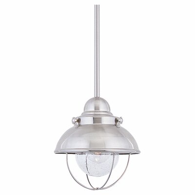 Everetts 1-Light LED Mini Pendant Size: 9 H x 8 W x 8 D, Finish: Brushed Stainless