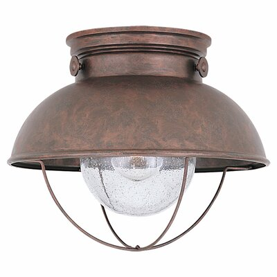 Corbel 1-Light Flush Mount Color: Weathered Copper