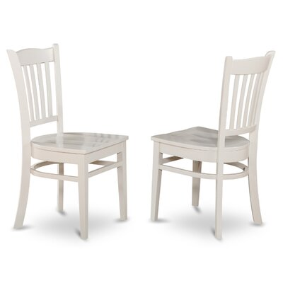 Langwater Solid Wood Dining Chair (Set of 2) Finish: Linen White