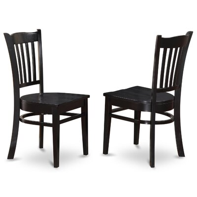 Langwater Solid Wood Dining Chair (Set of 2) Finish: Black