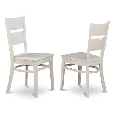 Langwater Ladder Back Solid Wood Dining Chair (Set of 2) Color: Linen White