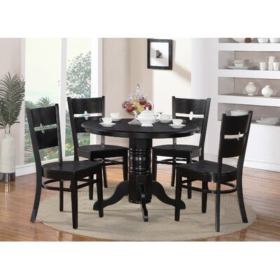 Langwater 5 Piece Pedestal Wood Dining Set Color: Black
