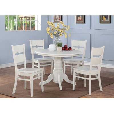 Langwater 5 Piece Pedestal Wood Dining Set Finish: Linen White