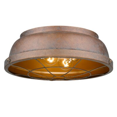 Elinna 2-Light Flush Mount Color: Copper Patina