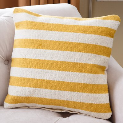 Mooresboro Striped Wool Throw Pillow Color: Yellow