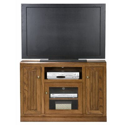 Didier Wood TV Stand Door Type: Plain Glass, Color: Dark Oak