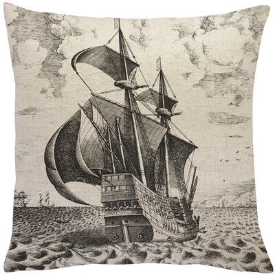 Silver Sands Ship Linen Throw Pillow