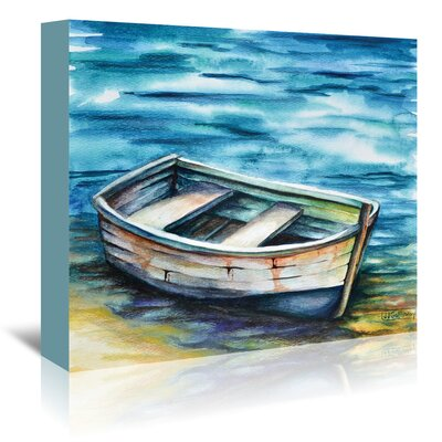Beached Rowboat Painting Print on Wrapped Canvas